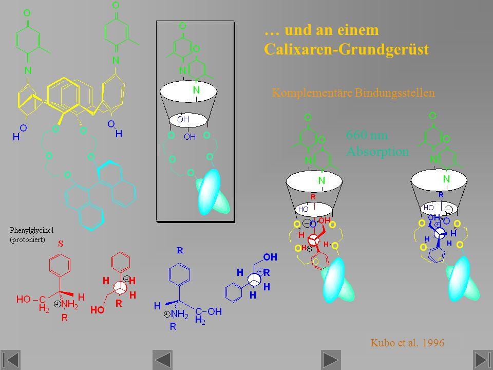 … und an einem Calixaren-Grundgerüst Komplementäre Bindungsstellen Kubo et al. 1996 660 nm Absorption