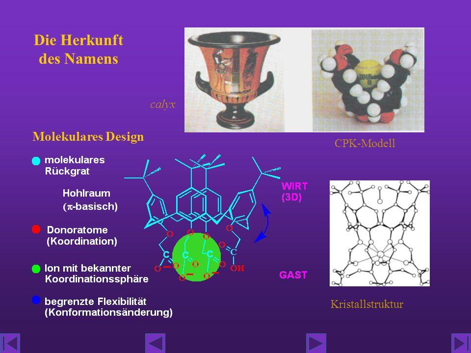 Die Herkunft des Namens Molekulares Design calyx CPK-Modell Kristallstruktur