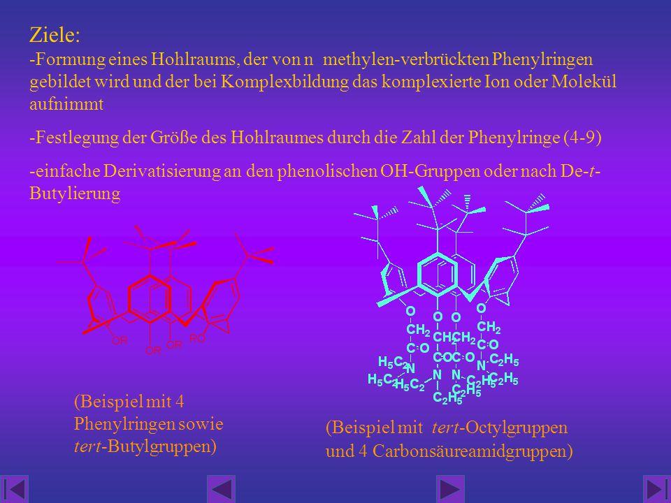 Ziele: -Formung eines Hohlraums, der von n methylen-verbrückten Phenylringen gebildet wird und der bei Komplexbildung das komplexierte Ion oder Molekü