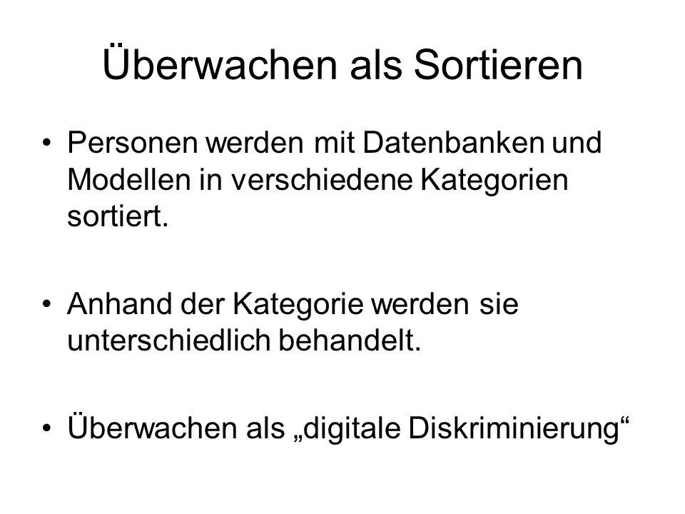 Überwachen als Sortieren Personen werden mit Datenbanken und Modellen in verschiedene Kategorien sortiert.