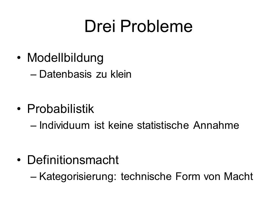 Drei Probleme Modellbildung –Datenbasis zu klein Probabilistik –Individuum ist keine statistische Annahme Definitionsmacht –Kategorisierung: technische Form von Macht