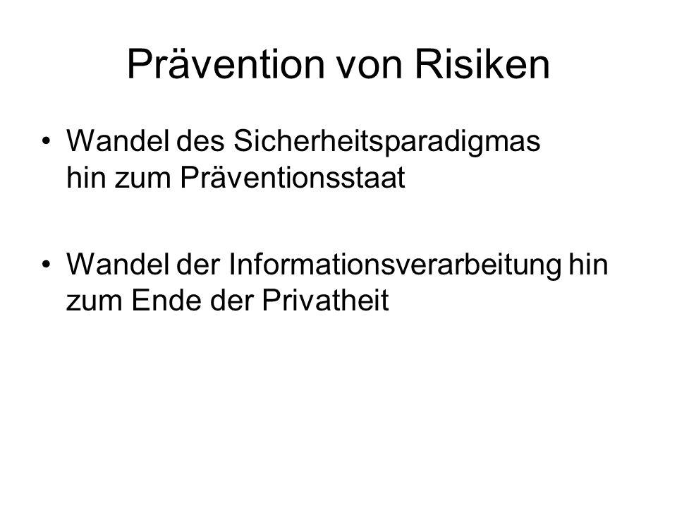Prävention von Risiken Wandel des Sicherheitsparadigmas hin zum Präventionsstaat Wandel der Informationsverarbeitung hin zum Ende der Privatheit
