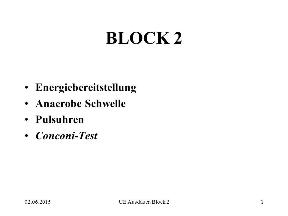 02.06.2015UE Ausdauer, Block 21 BLOCK 2 Energiebereitstellung Anaerobe Schwelle Pulsuhren Conconi-Test
