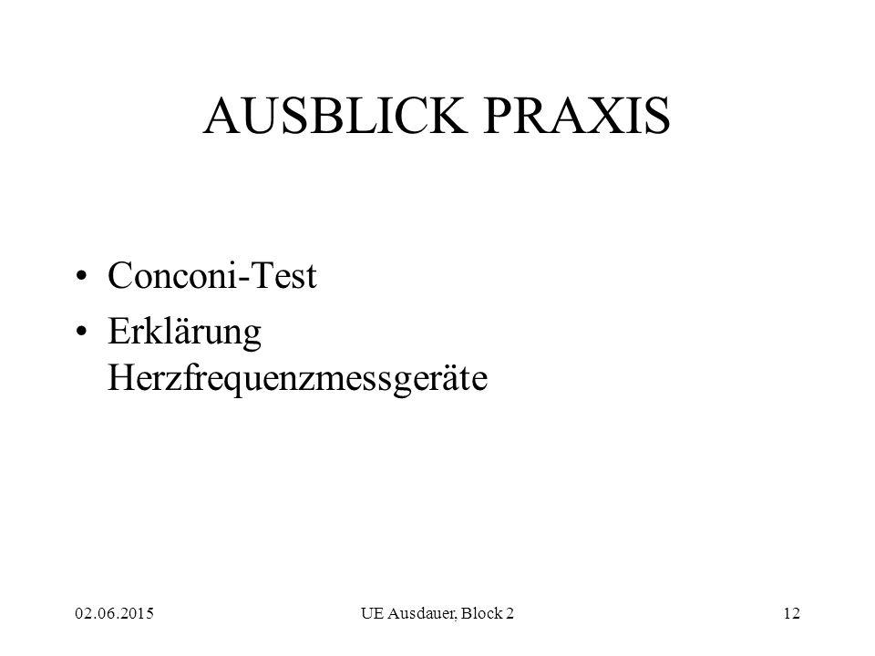 02.06.2015UE Ausdauer, Block 212 AUSBLICK PRAXIS Conconi-Test Erklärung Herzfrequenzmessgeräte