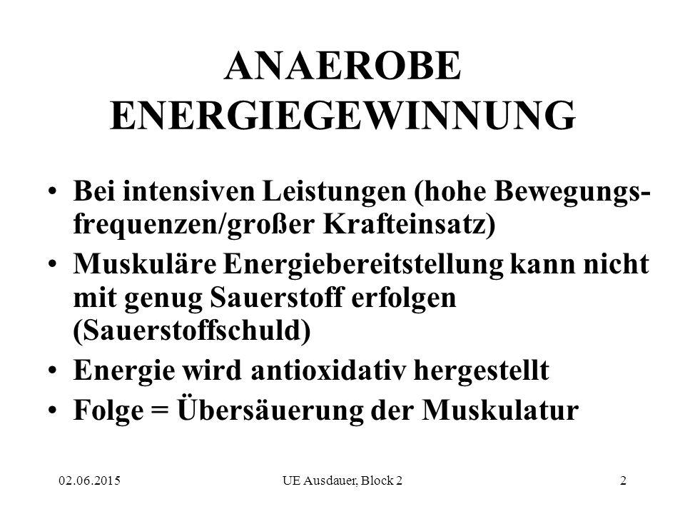 02.06.2015UE Ausdauer, Block 22 ANAEROBE ENERGIEGEWINNUNG Bei intensiven Leistungen (hohe Bewegungs- frequenzen/großer Krafteinsatz) Muskuläre Energie