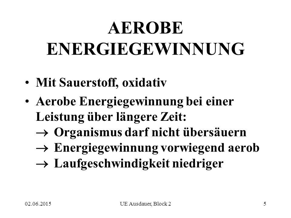 02.06.2015UE Ausdauer, Block 25 AEROBE ENERGIEGEWINNUNG Mit Sauerstoff, oxidativ Aerobe Energiegewinnung bei einer Leistung über längere Zeit:  Organ