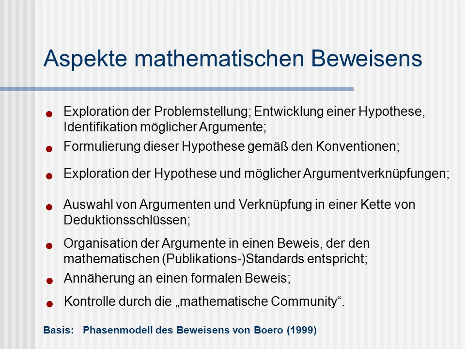Exploration der Problemstellung; Entwicklung einer Hypothese, Identifikation möglicher Argumente; Basis: Phasenmodell des Beweisens von Boero (1999) A