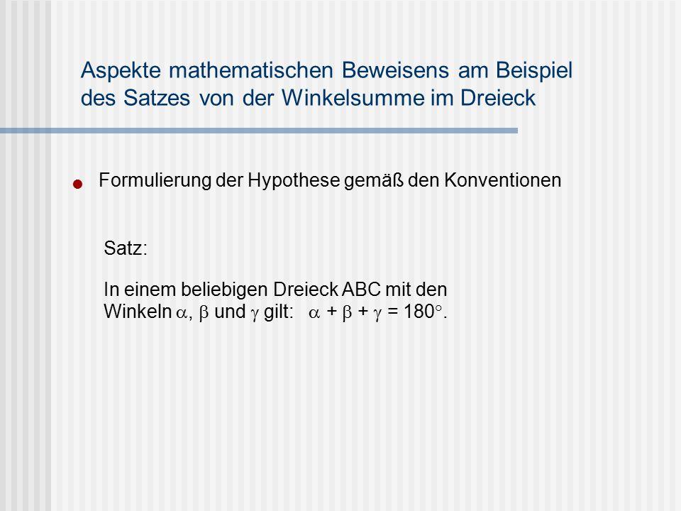 Formulierung der Hypothese gemäß den Konventionen Aspekte mathematischen Beweisens am Beispiel des Satzes von der Winkelsumme im Dreieck Satz: In eine