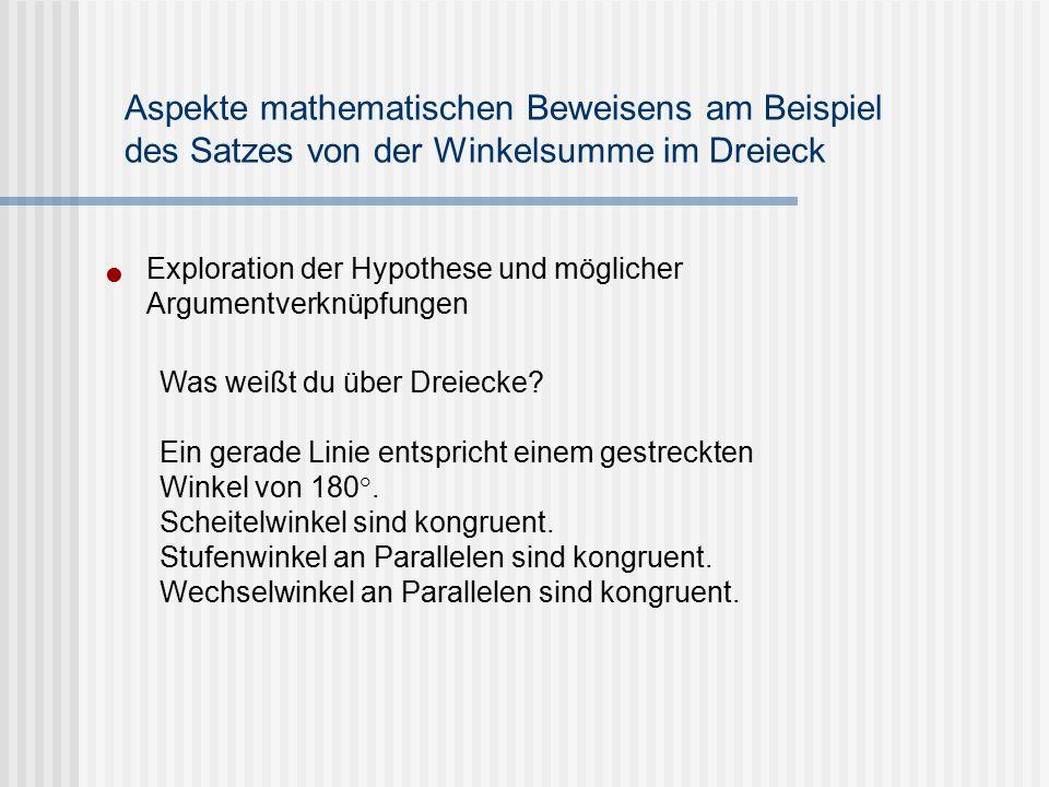 Exploration der Hypothese und möglicher Argumentverknüpfungen Aspekte mathematischen Beweisens am Beispiel des Satzes von der Winkelsumme im Dreieck W