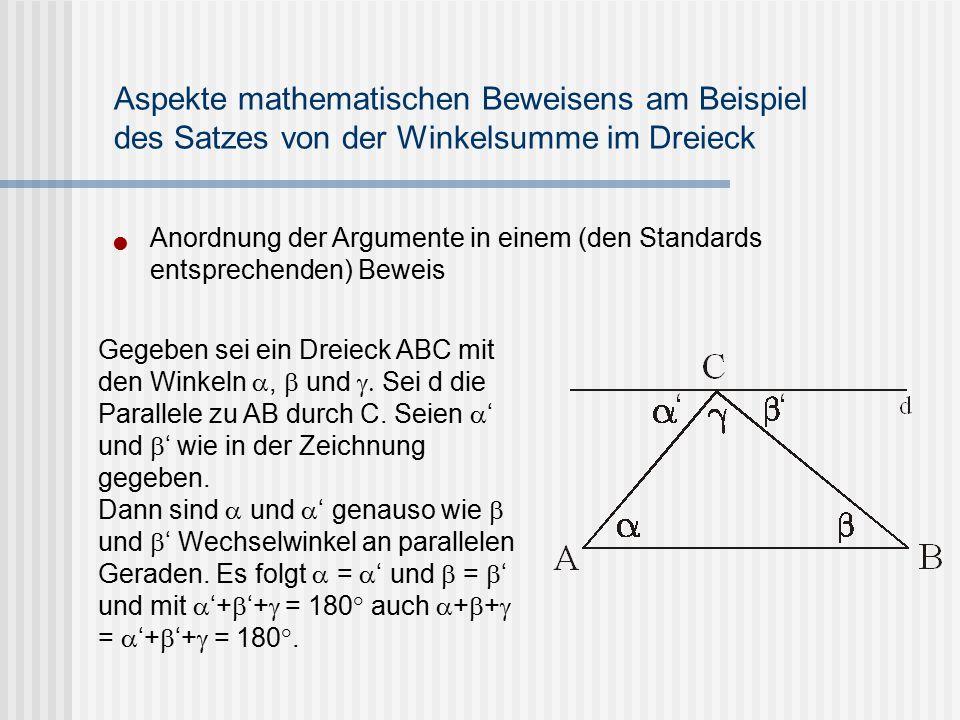 Anordnung der Argumente in einem (den Standards entsprechenden) Beweis Aspekte mathematischen Beweisens am Beispiel des Satzes von der Winkelsumme im