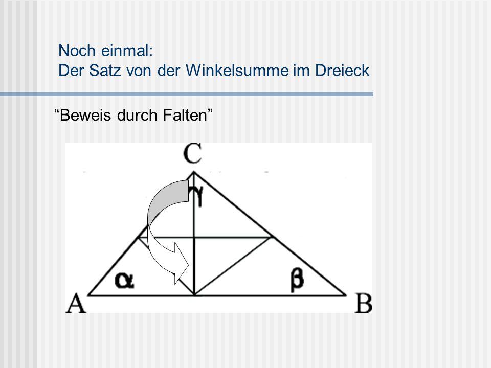 """""""Beweis durch Falten"""" Noch einmal: Der Satz von der Winkelsumme im Dreieck"""