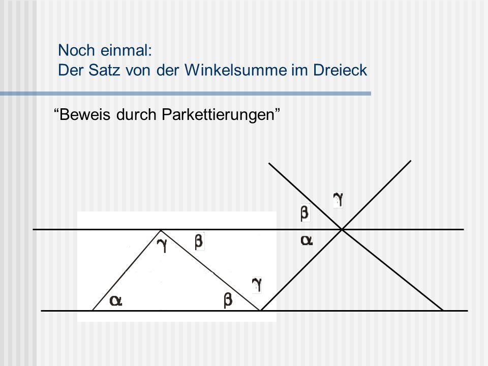 """""""Beweis durch Parkettierungen"""" Noch einmal: Der Satz von der Winkelsumme im Dreieck"""