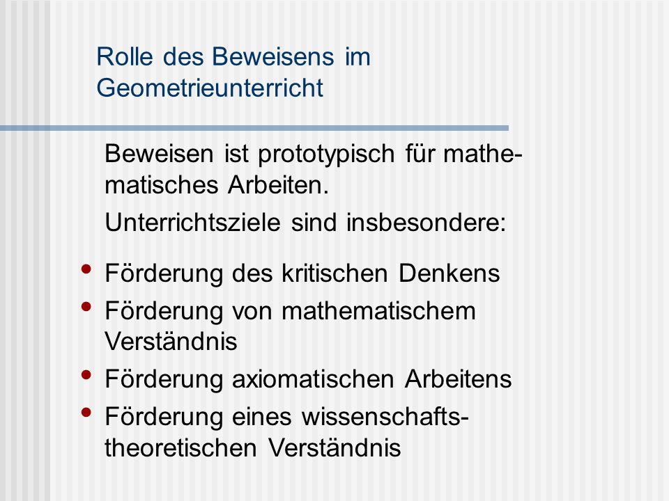 Rolle des Beweisens im Geometrieunterricht Beweisen ist prototypisch für mathe- matisches Arbeiten. Unterrichtsziele sind insbesondere: Förderung des