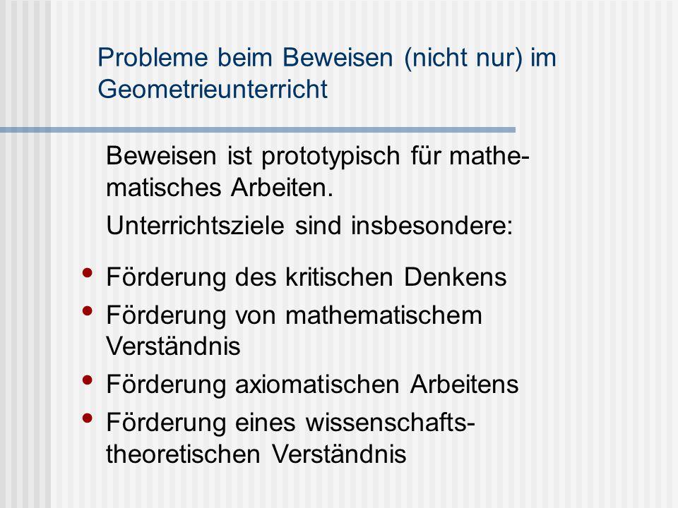 Probleme beim Beweisen (nicht nur) im Geometrieunterricht Beweisen ist prototypisch für mathe- matisches Arbeiten. Unterrichtsziele sind insbesondere:
