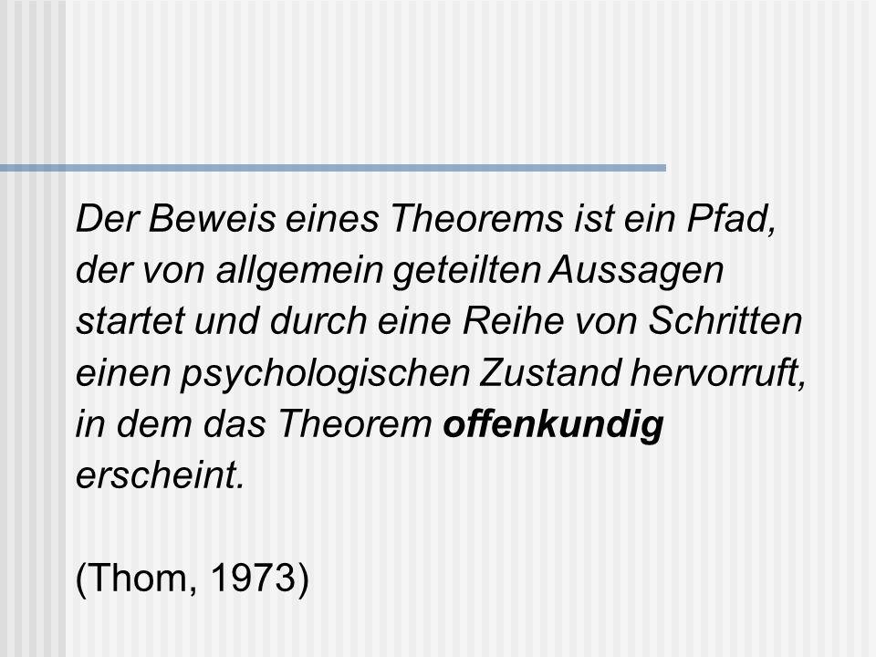 Der Beweis eines Theorems ist ein Pfad, der von allgemein geteilten Aussagen startet und durch eine Reihe von Schritten einen psychologischen Zustand