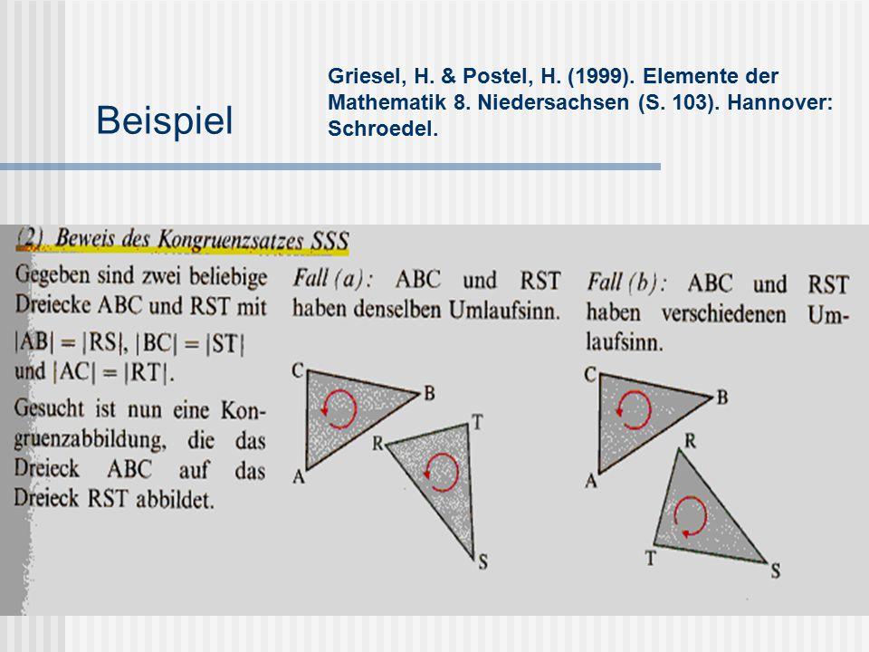 Beispiel Griesel, H. & Postel, H. (1999). Elemente der Mathematik 8. Niedersachsen (S. 103). Hannover: Schroedel.