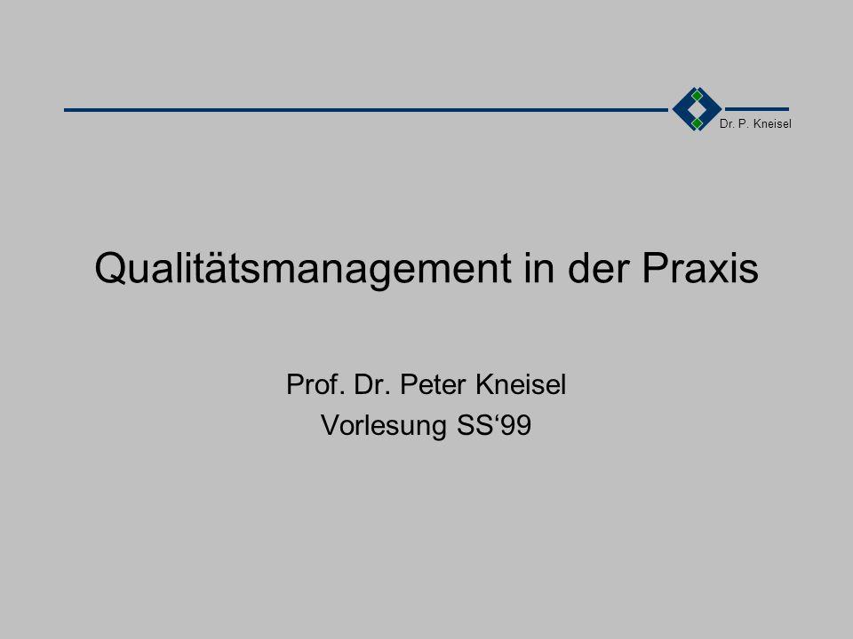 Dr. P. Kneisel Qualitätsmanagement in der Praxis Prof. Dr. Peter Kneisel Vorlesung SS'99