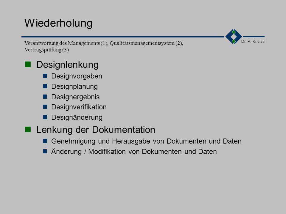 Dr. P. Kneisel 3.5.2Anforderungen der Norm Genehmigung und Herausgabe von Dokumenten und Daten Erstellung, Prüfung, Freigabe von Dokumenten durch auth