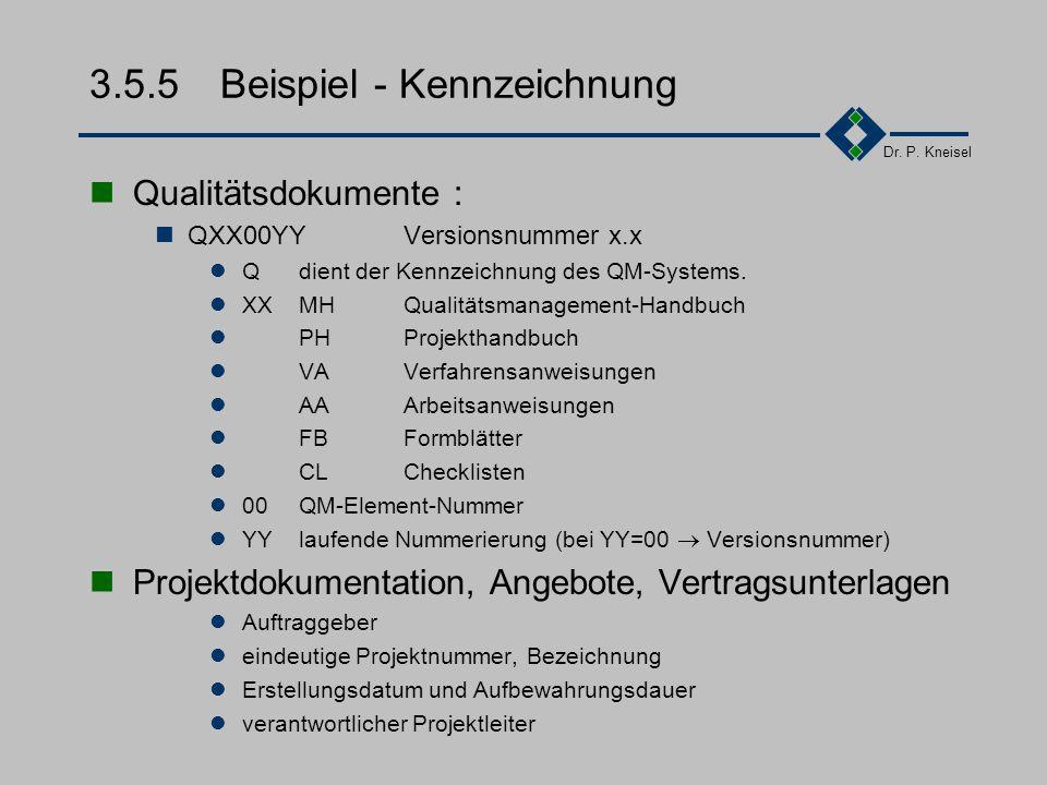 Dr. P. Kneisel 3.5.4Arten von Dokumenten Systembezogene Dokumente: Dokumente, die ein funktionierendes QM-System entsprechend der Norm DIN EN ISO 9000