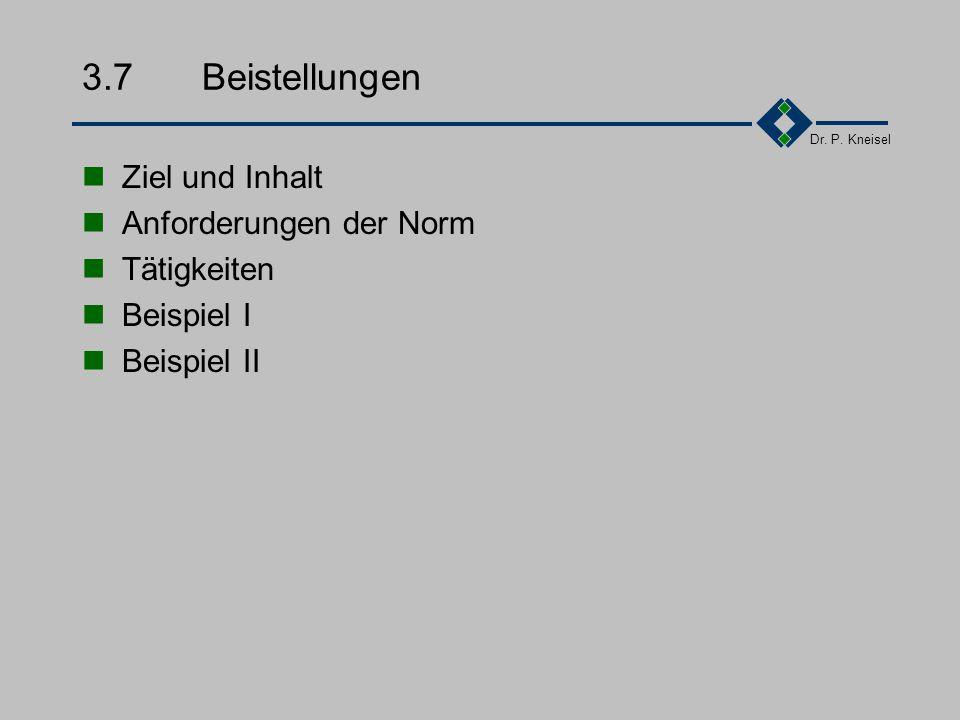 Dr. P. Kneisel 3.6.6Beispiel - Auswahlkriterien Die Auswahl und Bewertung mit bereits bekannten Lieferanten erfolgt über die Beurteilung vergangener Z