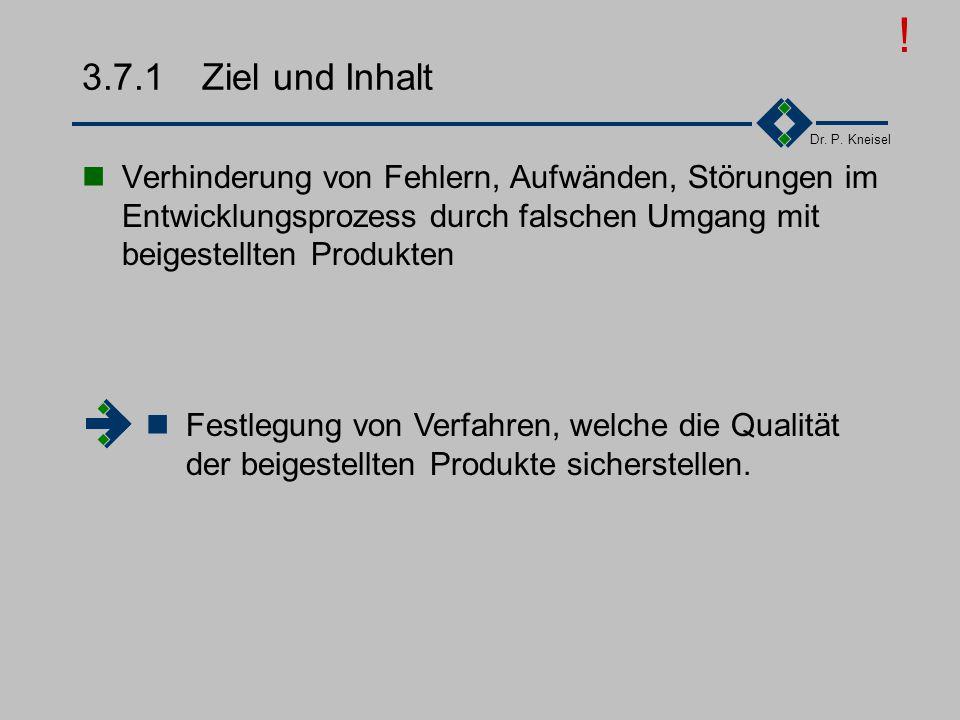 Dr. P. Kneisel 3.7Beistellungen Ziel und Inhalt Anforderungen der Norm Tätigkeiten Beispiel I Beispiel II