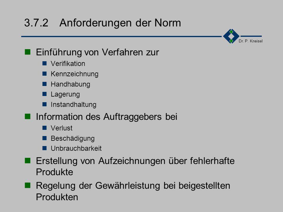 Dr. P. Kneisel 3.7.1Ziel und Inhalt Verhinderung von Fehlern, Aufwänden, Störungen im Entwicklungsprozess durch falschen Umgang mit beigestellten Prod