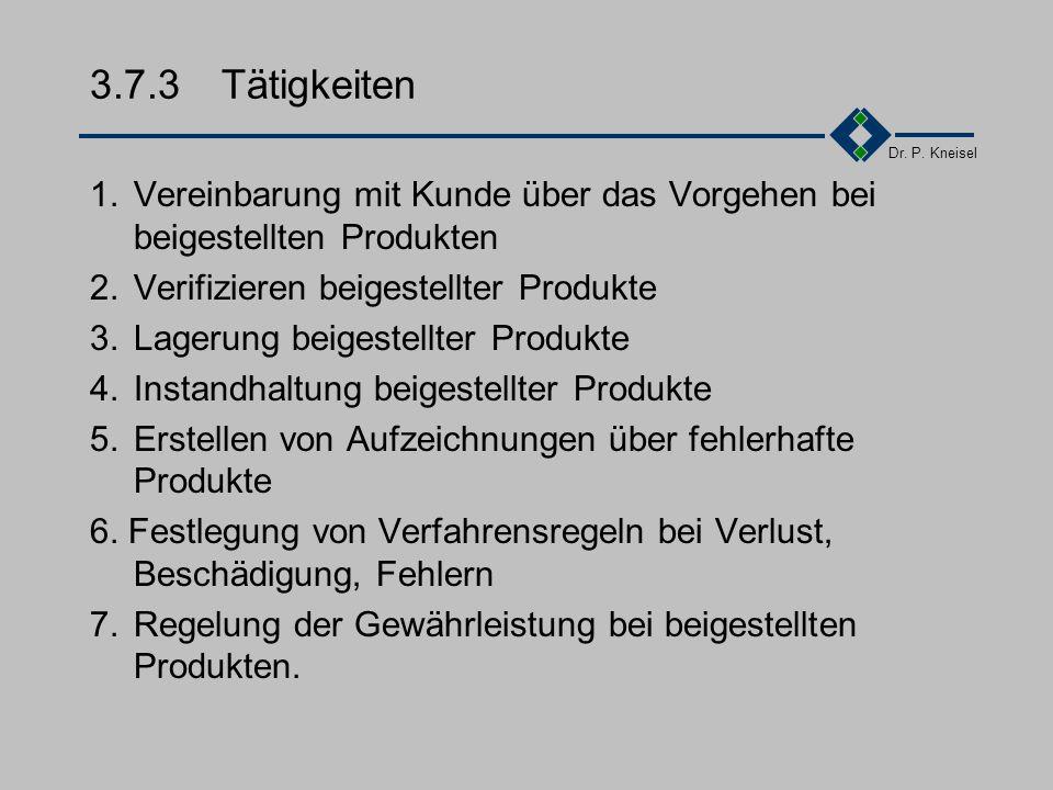Dr. P. Kneisel 3.7.2Anforderungen der Norm Einführung von Verfahren zur Verifikation Kennzeichnung Handhabung Lagerung Instandhaltung Information des