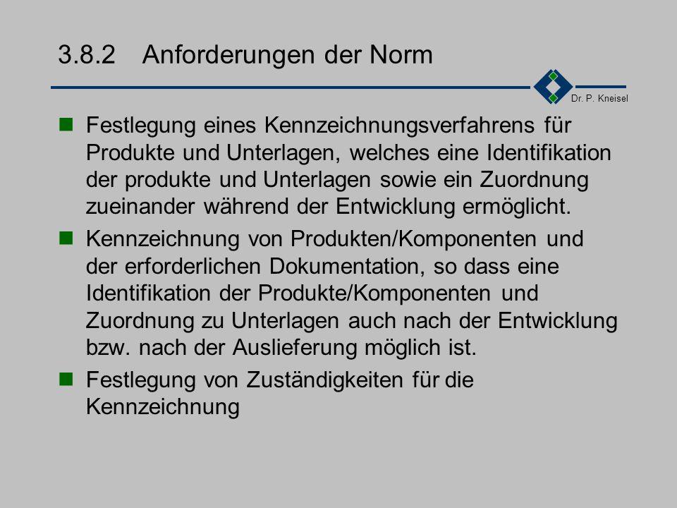 Dr. P. Kneisel 3.8.1Ziel und Inhalt Bei Reklamationen muss eines sichere Identifikation und Zuordnung zum Entwicklungsdaten möglich sein. Festlegung v