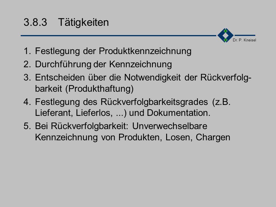 Dr. P. Kneisel 3.8.2Anforderungen der Norm Festlegung eines Kennzeichnungsverfahrens für Produkte und Unterlagen, welches eine Identifikation der prod
