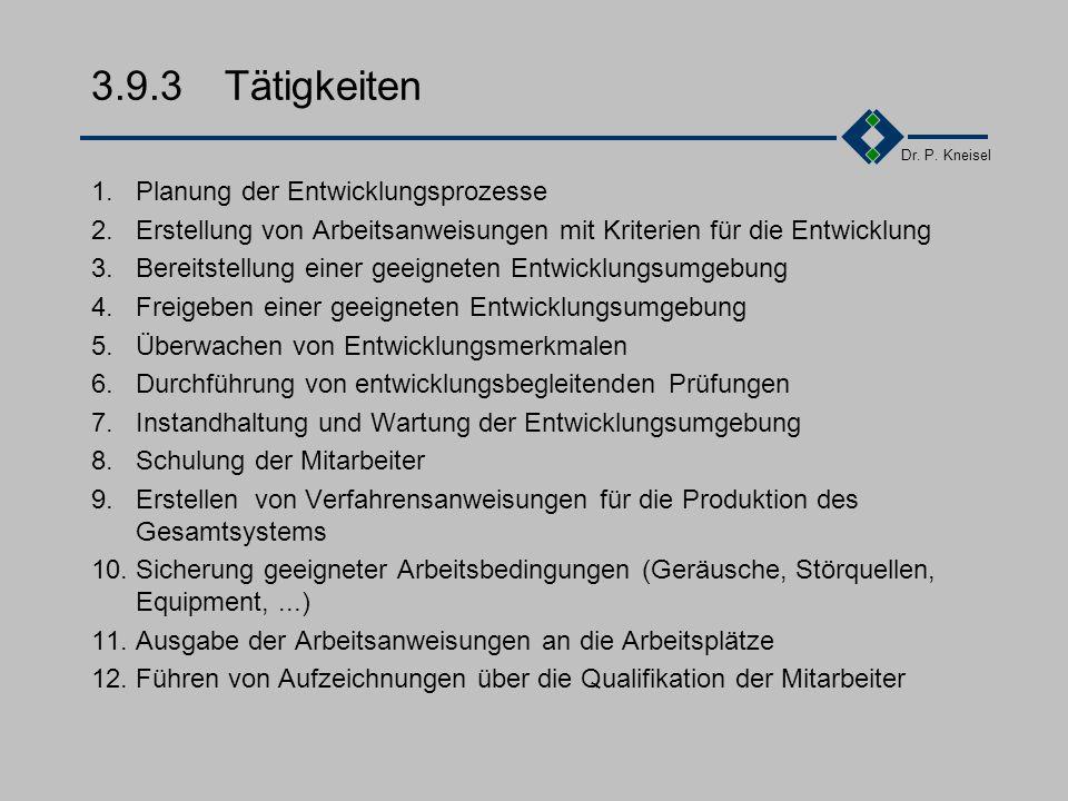 Dr. P. Kneisel 3.9.2Anforderungen der Norm II Instandhaltung und Wartung von Entwicklungsumgebungen Wartungspläne erstellen Instandhaltungsaktivitäten