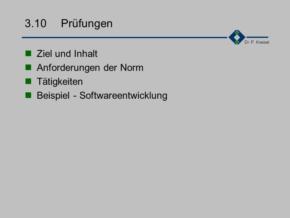 Dr. P. Kneisel 3.9.3Tätigkeiten 1.Planung der Entwicklungsprozesse 2.Erstellung von Arbeitsanweisungen mit Kriterien für die Entwicklung 3.Bereitstell