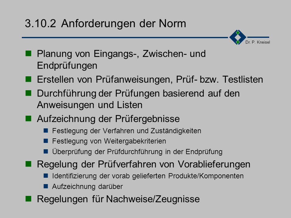 Dr. P. Kneisel 3.10.1Ziel und Inhalt Nachweis der Erfüllung der vorgegebenen Funktionalität Prüfung während der Entwicklungsphasen. Festlegung der Prü