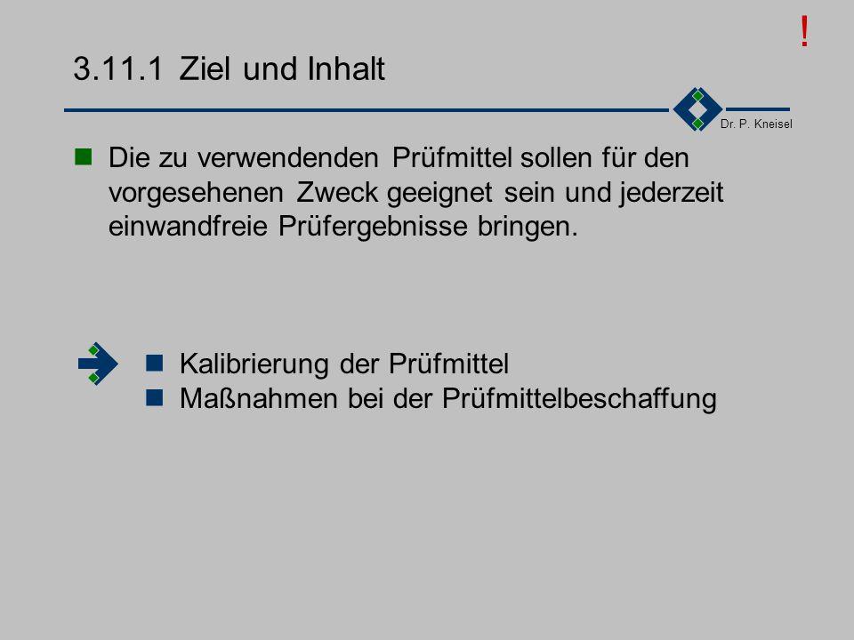 Dr. P. Kneisel 3.11Prüfmittel Ziel und Inhalt Anforderungen der Norm I Anforderungen der Norm II Tätigkeiten
