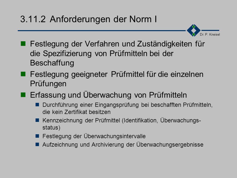Dr. P. Kneisel 3.11.1Ziel und Inhalt Die zu verwendenden Prüfmittel sollen für den vorgesehenen Zweck geeignet sein und jederzeit einwandfreie Prüferg
