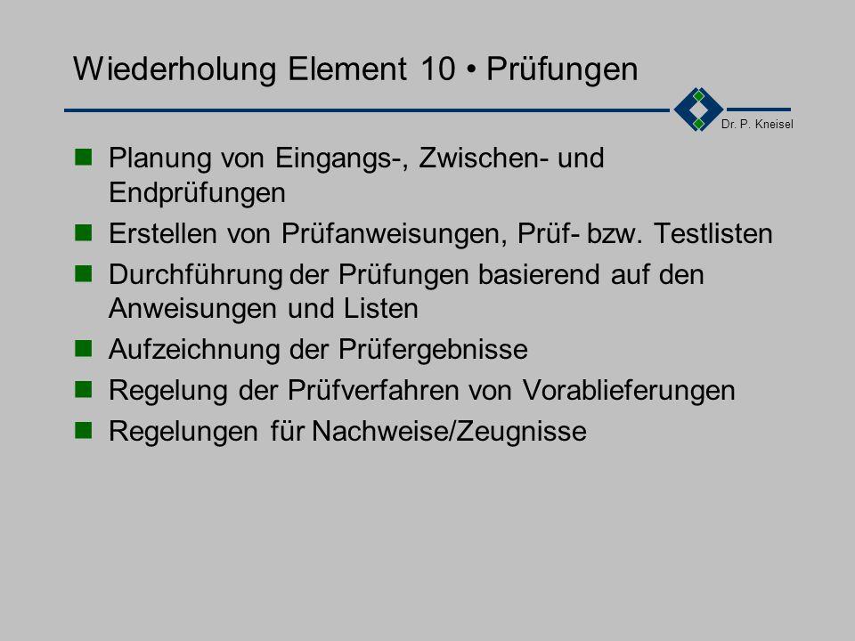 Dr. P. Kneisel Wiederholung Element 9 Prozeßlenkung Planung und Beschriebung der Entwicklungs-prozesse in Arbeitsanweisungen Überwachung und Lenkung d