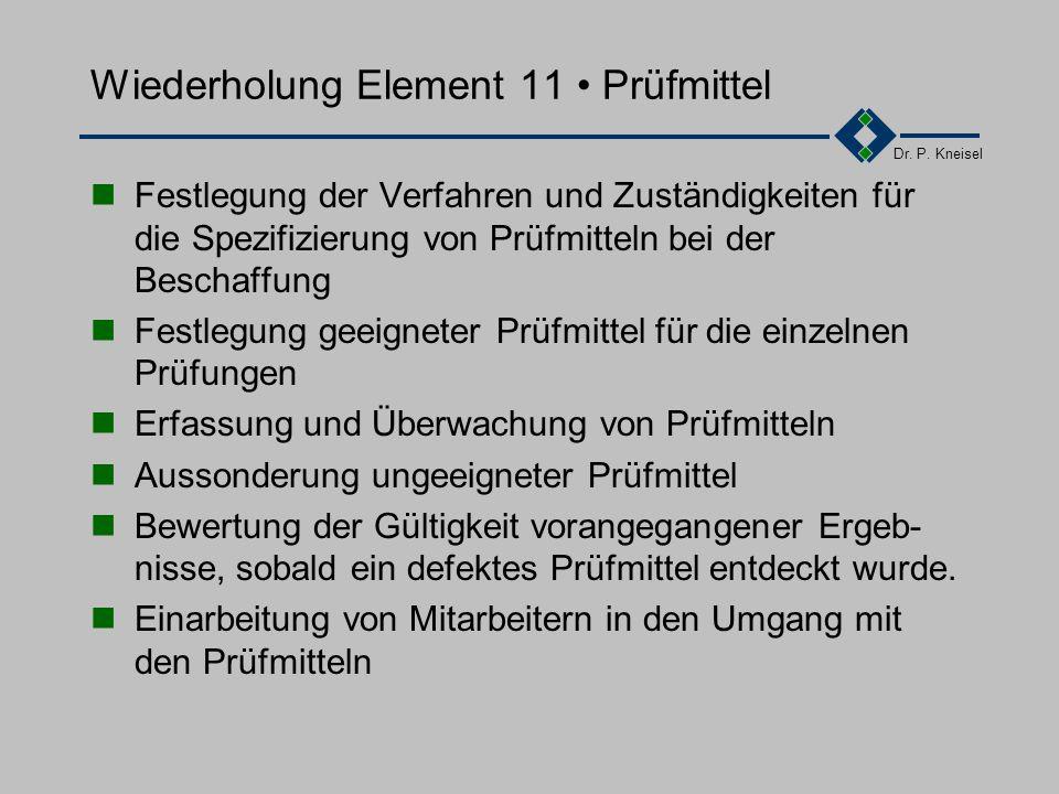 Dr. P. Kneisel Wiederholung Element 10 Prüfungen Planung von Eingangs-, Zwischen- und Endprüfungen Erstellen von Prüfanweisungen, Prüf- bzw. Testliste