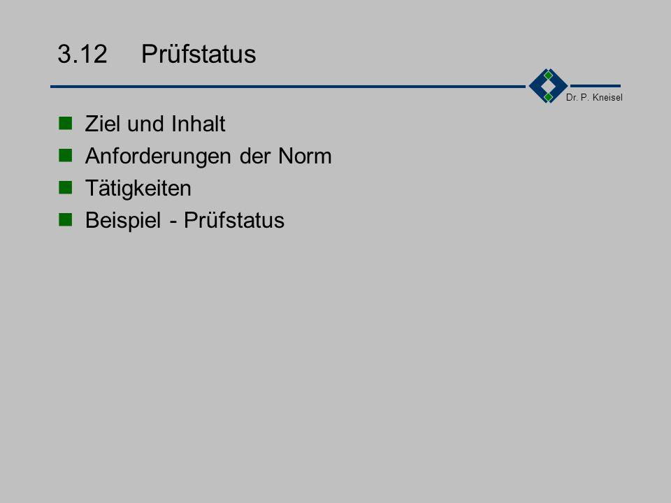 Dr. P. Kneisel Wiederholung Element 11 Prüfmittel Festlegung der Verfahren und Zuständigkeiten für die Spezifizierung von Prüfmitteln bei der Beschaff