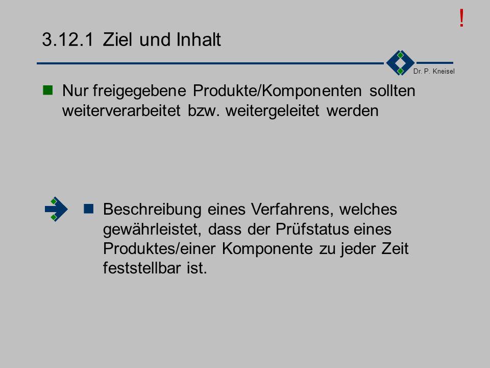 Dr. P. Kneisel 3.12Prüfstatus Ziel und Inhalt Anforderungen der Norm Tätigkeiten Beispiel - Prüfstatus