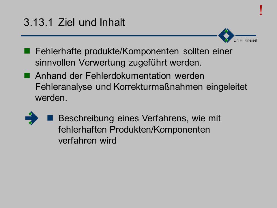 Dr. P. Kneisel 3.13Lenkung fehlerhafter Produkte Ziel und Inhalt Anforderungen der Norm Tätigkeiten