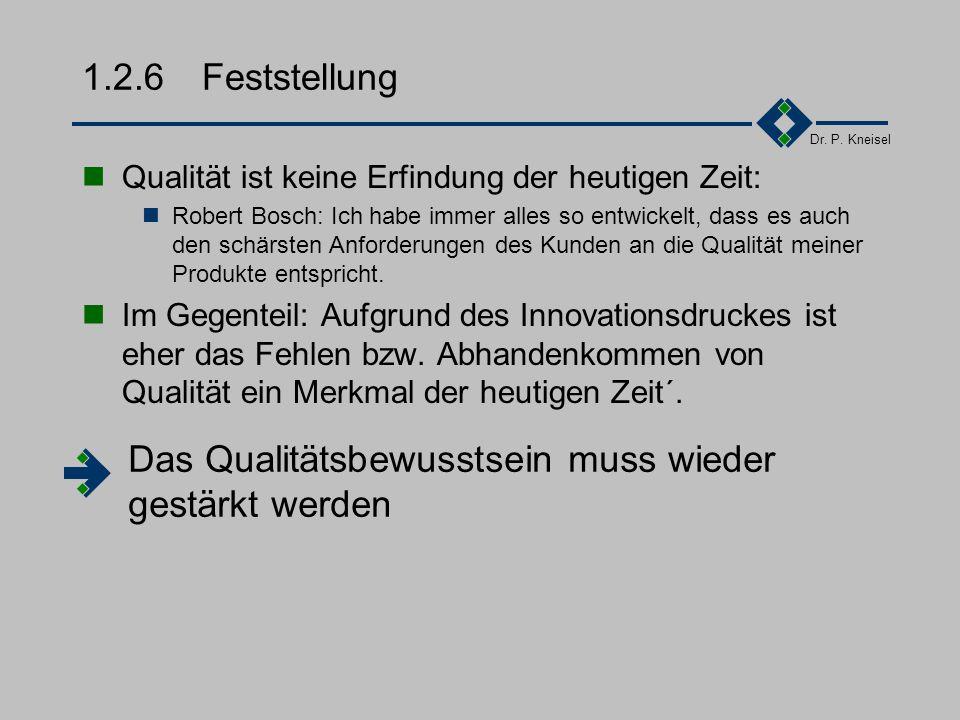 Dr. P. Kneisel 1.2.5Qualität als...... Erfolgsfaktor... Verkaufsargument... Zukunftssicherung...... des eigenen Unternehmens... der Branche... der Ind