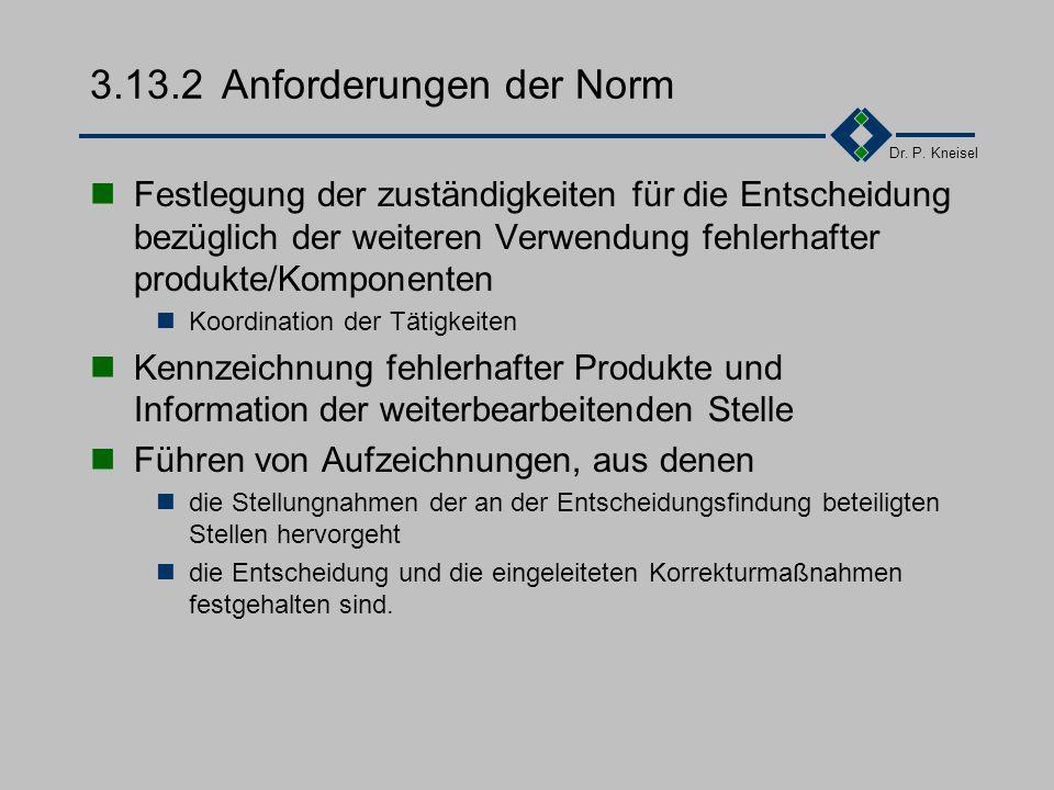 Dr. P. Kneisel 3.13.1Ziel und Inhalt Fehlerhafte produkte/Komponenten sollten einer sinnvollen Verwertung zugeführt werden. Anhand der Fehlerdokumenta