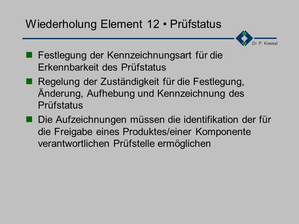 Dr. P. Kneisel Wiederholung Element 1-11 Element 1: Verantwortung des Managements Element 2: Qualitätsmanagementsystem Element 3: Vertragsprüfung Elem