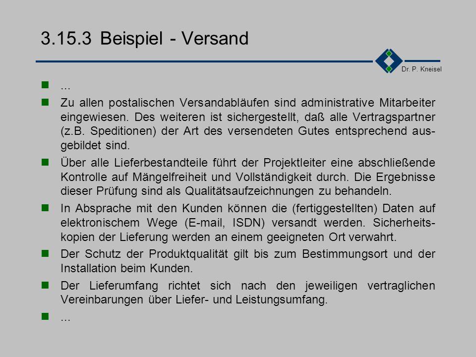Dr. P. Kneisel 3.15.3Tätigkeiten 1.Festlegung von Verfahren und Mitteln für die Handhabung/Transport 2.Festlegung eines Verfahrens zur Behandlung besc