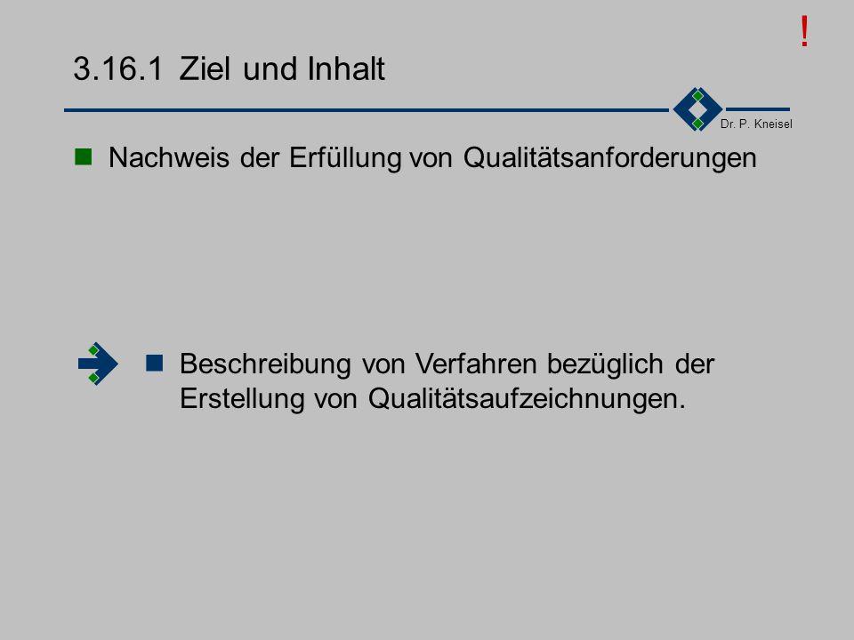 Dr. P. Kneisel 3.16Qualitätsaufzeichnungen Qualitätsaufzeichnungen sind: der Nachweis, daß die Entwicklung unter kontrollierten Bedingungen stattfinde