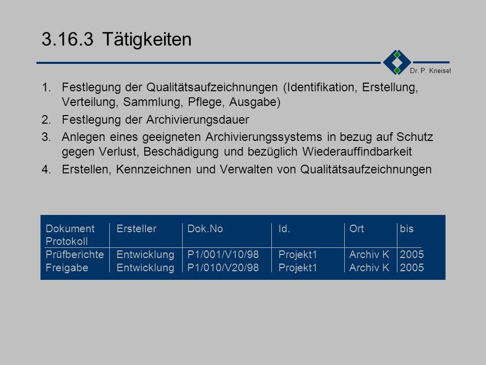 Dr. P. Kneisel 3.16.2Anforderungen der Norm Festlegung der erforderlichen Qualitätsaufzeichn. Festlegung der Verfahren für die Erstellung, Kenn- zeich