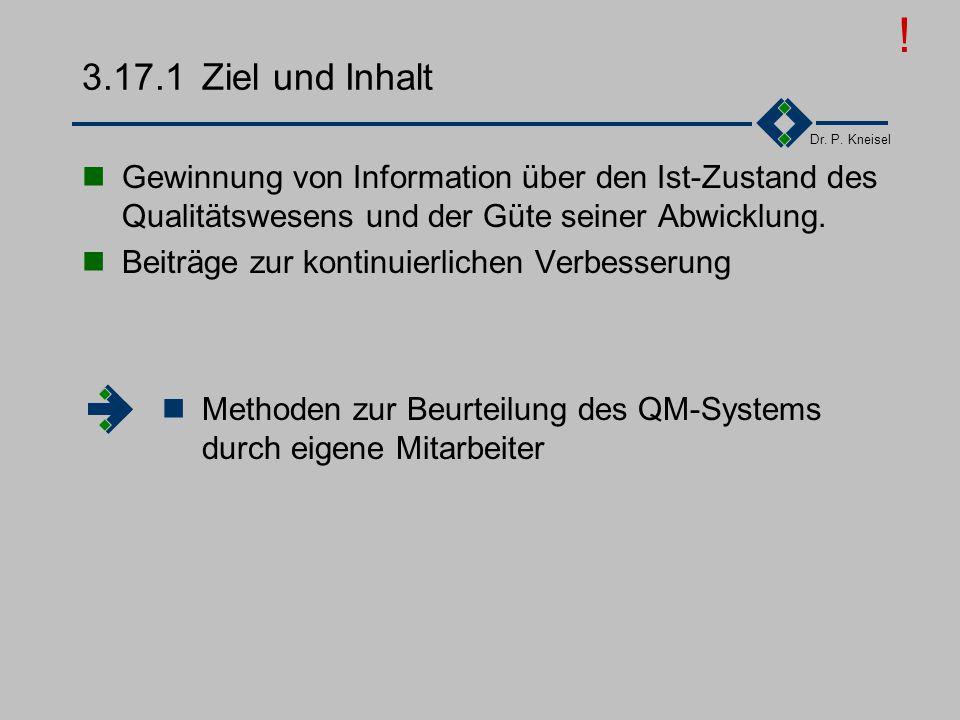 Dr. P. Kneisel 3.17Interne Qualitätsaudits Unterscheidung interner Qualitätsaudits in Systemaudit: das Qualitätsmanagementsystem selbst betreffend Pro