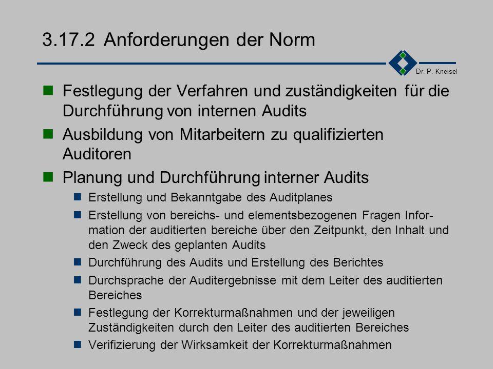 Dr. P. Kneisel 3.17.1Ziel und Inhalt Gewinnung von Information über den Ist-Zustand des Qualitätswesens und der Güte seiner Abwicklung. Beiträge zur k