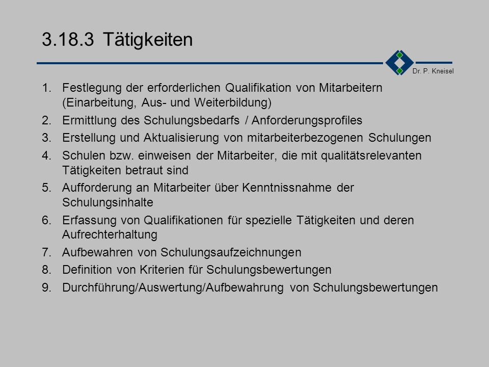 Dr. P. Kneisel 3.18.2Anforderungen der Norm Einarbeitung neuer mitarbeiter auf der Basis eines spezifischen Einarbeitungsplanes regelmäßige Ermittlung
