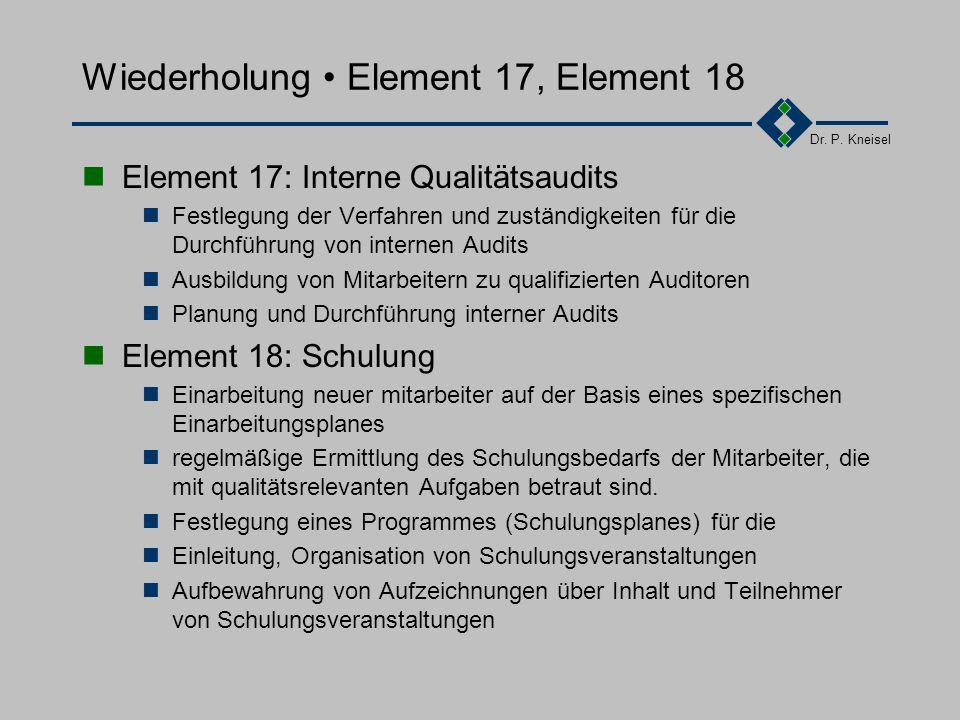 Dr. P. Kneisel Wiederholung Element 15, Element 16 Element 15: Handhabung/Lagerung/Verpackung/Versand Festlegung von Verfahren und Mitteln für die Han