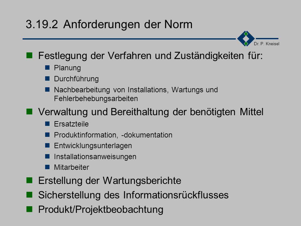 Dr. P. Kneisel 3.19.1Ziel und Inhalt Erfüllung der Erwartungen des Kunden bezüglich Fehlerfreiheit und Erweiterbarkeit. Schnelle Umsetzung der Rückmel